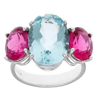 14k White Gold Three-stone Aquamarine and Pink Sapphire Estate Ring