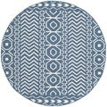 Safavieh Hand-woven Moroccan Dhurries Dark Blue/ Ivory Wool Rug (6' Round)