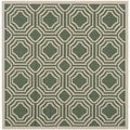 Safavieh Indoor/ Outdoor Moroccan Courtyard Dark Green/ Beige Rug (5' Square)