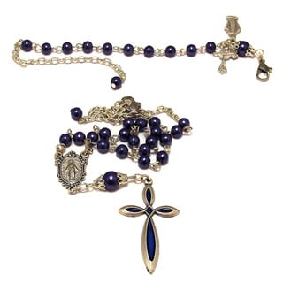 Bronze 18-inch Navy Blue Crystal Rosary Necklace and Bracelet