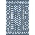 Safavieh Hand-woven Moroccan Dhurries Dark Blue/ Ivory Wool Rug (2'6 x 4')