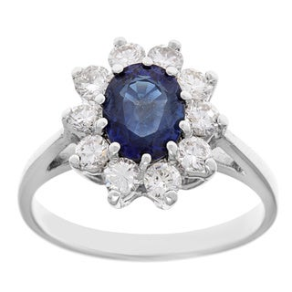 14k White Gold 3/4ct TDW Diamond and Blue Sapphire Estate Ring (G-H, VS1-VS2)