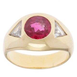 18k Yellow Gold 3/5ct TDW Certified Diamond and Ruby Estate Ring (H-I, SI1-SI2)