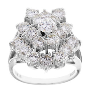 14k White Gold 3ct TDW Diamond Ballerina Estate Ring (H-I, VS1-VS2)