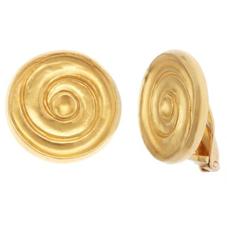 18k Yellow Gold Carved Disc Estate Earrings