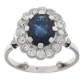 Platinum 1 1/10ct TDW Diamond and Sapphire Antique Estate Cocktail Ring (G-H, VS1-VS2)