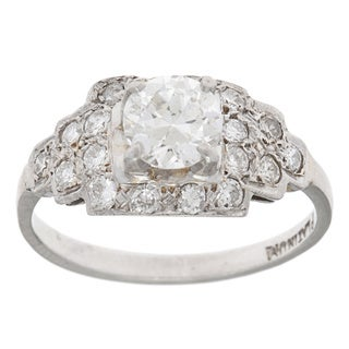 Platinum 1ct TDW Diamond Estate Antique Engagement Ring (G-H, SI1-SI2)