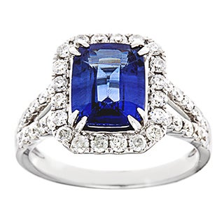 14k White Gold 4/5ct TDW Diamond and Sapphire Estate Ballerina Ring (G-H, SI1-SI2)