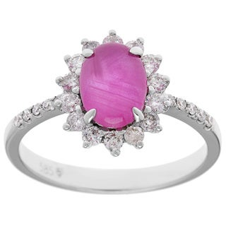 14k White Gold 1/3ct TDW Diamond and Ruby Estate Ballerina Ring (I-J, I1-I2)