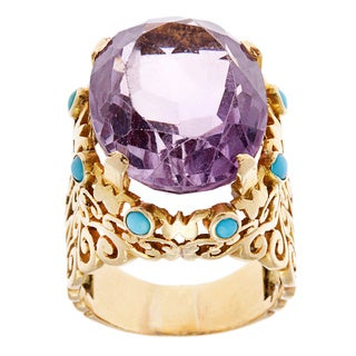 18k Yellow Gold Amethyst and Turquoise Estate Cocktail Ring