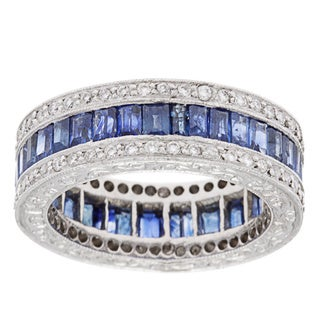 Platinum 1ct TDW Diamond and Sapphire Estate Wedding Band (I-J, SI1-SI2)