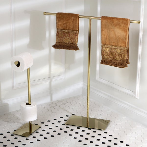 Modern polished brass freestanding bathroom accessories - Bathroom towel holders accessories ...