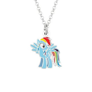 Fine Silvertone Rainbow Dash My Little Pony Pendant Necklace