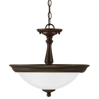Northbrook 2-light Roman Bronze Semi-flush Convertible Pendant with Satin Etched Glass