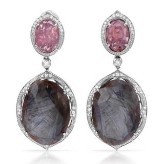 Contessa 14k White Gold 3/5ct TDW Diamond, Smokey Sapphire, Pink Spinel Earrings (G-H, I2-I3)