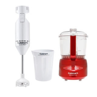 Cuisinart DLC-2AMR Metallic Red 3-cup Food Processor with Bonus Hand Mixer
