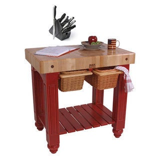 John Boos CU-GB3624-BN Barn Red Gathering Block Table (36x24) with Henckels 13 Piece Knife Block Set