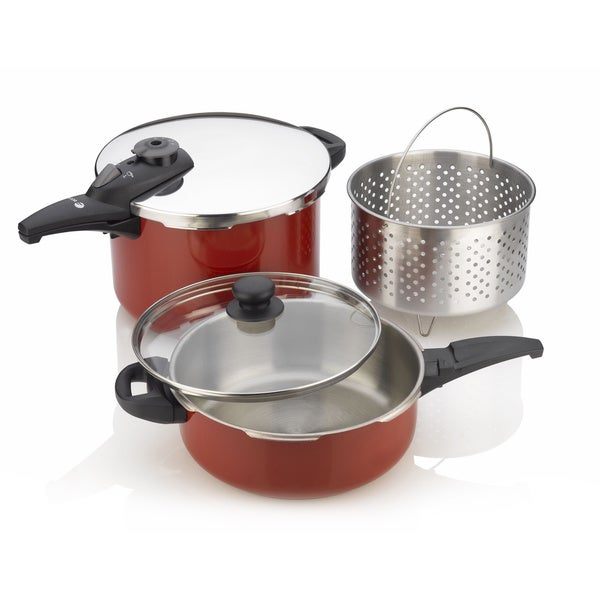 Red 5-piece Pressure Cooker Set