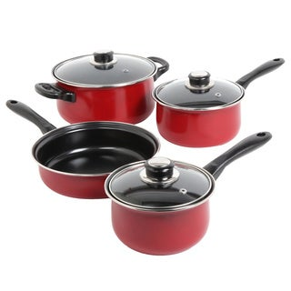 Sunbeam Newbrook 7-piece Non-stick Red Cookware Set