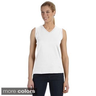 LAT Women's Combed Ringspun V-neck Sleeveless T-Shirt