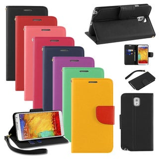 BasAcc Wallet PU Leather Magnetic Case for Samsung Galaxy Note 3 III N9000