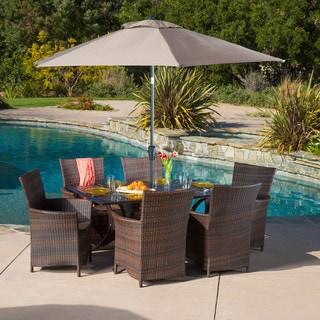 Christopher Knight Home Moonlight Rectangular Outdoor Cast and Wicker 7-piece Set