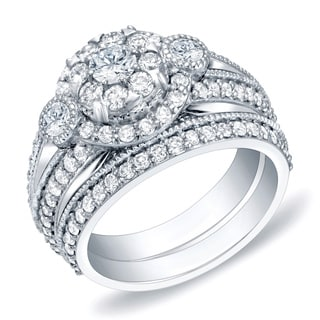 Auriya 14k Gold 1 3/4ct TDW Diamond Bridal Ring Set (H-I, SI1-SI2)