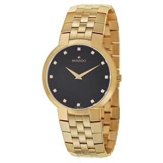 Movado Men's 'Faceto' Yellow Goldtone Stainless Steel Diamond Accent Swiss Quartz Watch