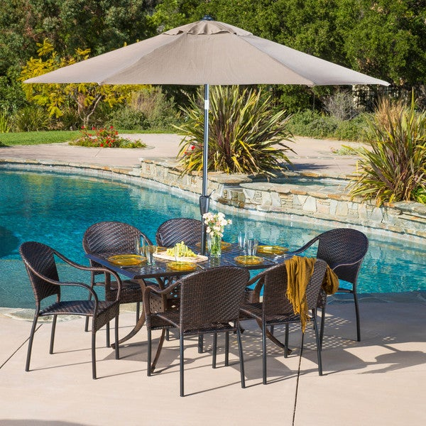 Sunset Rectangular Outdoor Cast and Wicker 7-piece Set by Christopher Knight Home -  294941