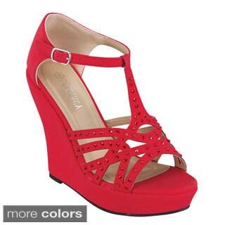 Delicacy Women's 'Cokie-45' T-Strap Cut-out Wedge Platform Sandals