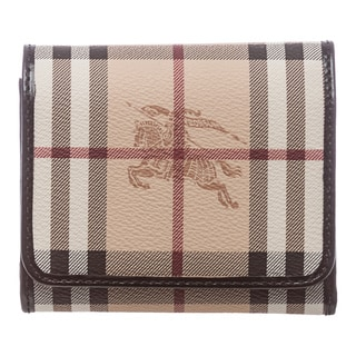 Burberry 'Leighton' Beige/ Black Haymarket Flap Wallet