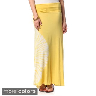 Women's Fold-over Waist Tie-dye Maxi Skirt