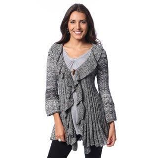 Hadari Women's Grey Ruffle Cardigan