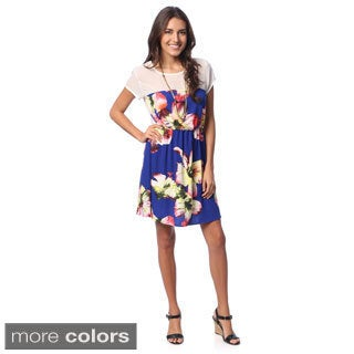 Hadari Women's Short Sleeve Floral Sundress