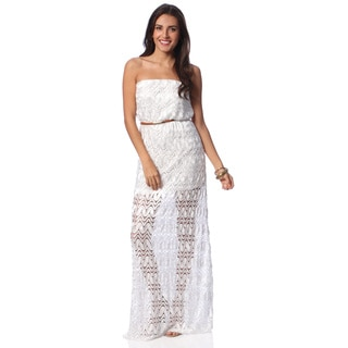 Hadari Women's White Crochet Overlay Maxi Dress