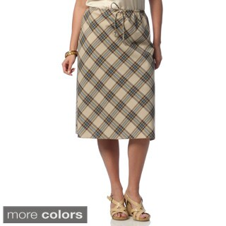 Hadari Women's Plus Size Plaid Knee-length Skirt