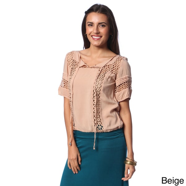 Hadari Women's Crochet Accent Peasant Top