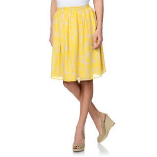 Pippa Women's Yellow/ Beige Printed Silk Skirt