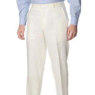 Henry Grethel Men's Oyster Linen Flat-front Pants (38R)