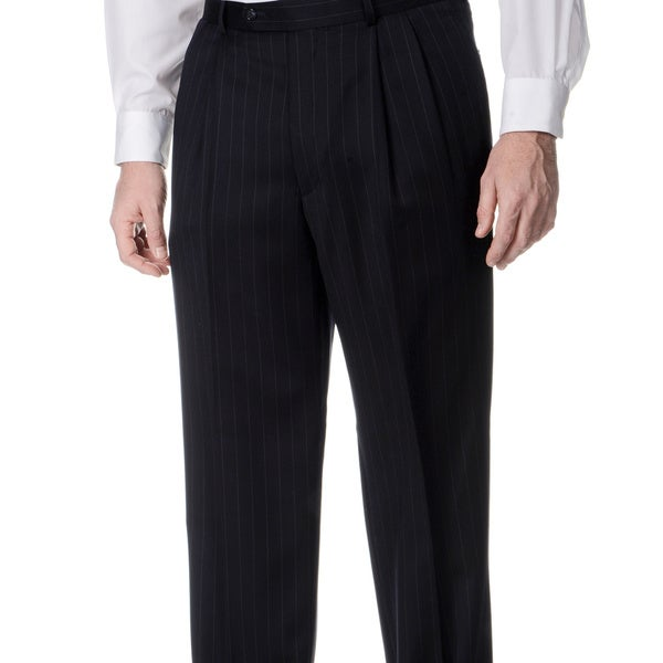 Henry Grethel Men's Navy Pleated Trousers