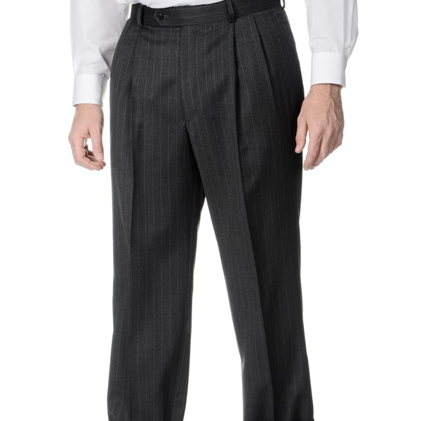 Henry Grethel Men's Grey Wool Flat-front Trousers