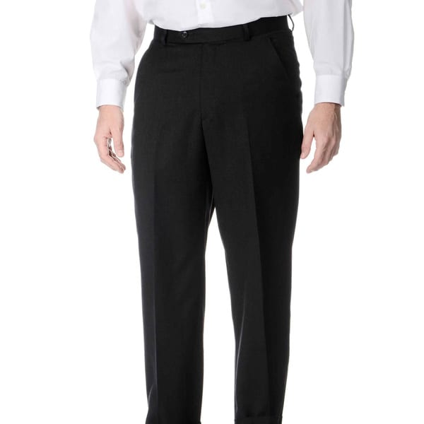Henry Grethel Men's Charcoal Wool Flat-front Trousers