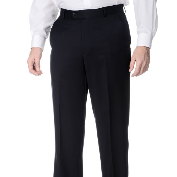 Henry Grethel Men's Navy Wool Flat-front Pants