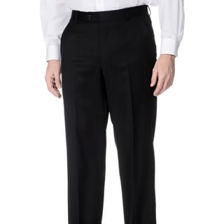 Henry Grethel Men's Black Wool Flat-front Pants