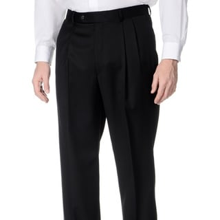Henry Grethel Men's Black Wool Pleated Front Pants