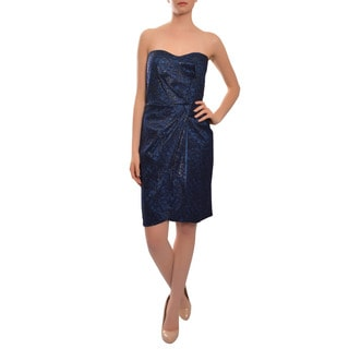 David Meister Women's Navy Blue Lace Overlay Cocktail Evening Dress
