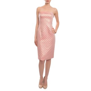 Escada Women's Pink Brocade Strapless Evening Dress