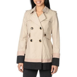 Kensie Women's Short Double Breasted Trench Coat