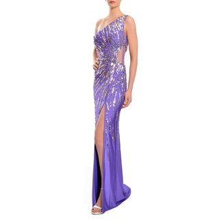 Mac Duggal Women's Radiant Purple One-shoulder Svelte Beaded Gown