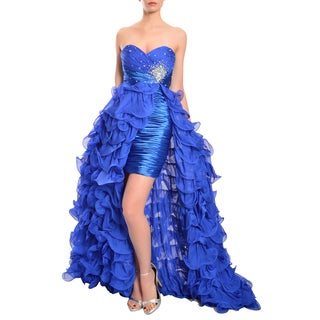 Mac Duggal Women's Royal Blue Ruffled High-low Crystal Embellished Gown